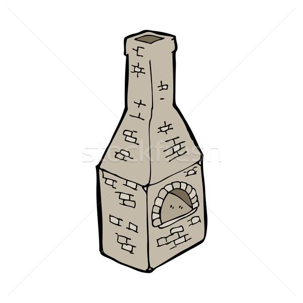 Cartoon oude kachel schoorsteen hand ontwerp Stockfoto © lineartestpilot