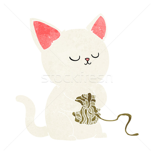 cartoon cat playing with ball of yarn Stock photo © lineartestpilot