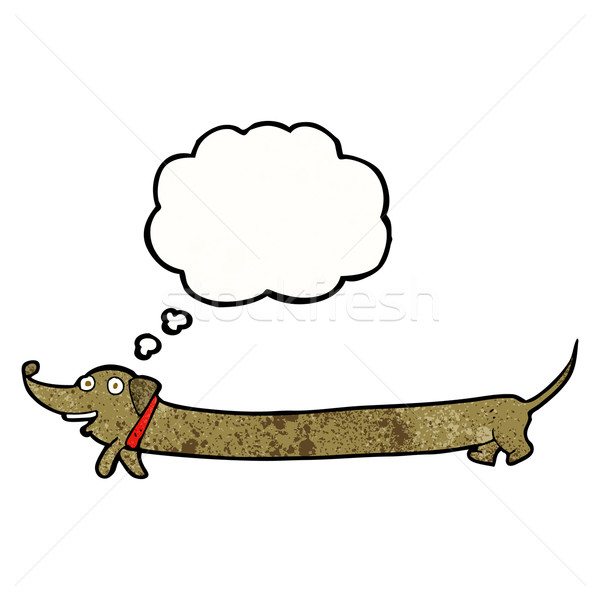 Cartoon teckel gedachte bel hand hond ontwerp Stockfoto © lineartestpilot