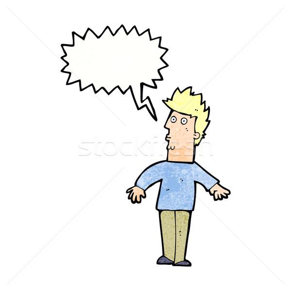 Cartoon удивленный человека мысли пузырь стороны дизайна Сток-фото © lineartestpilot