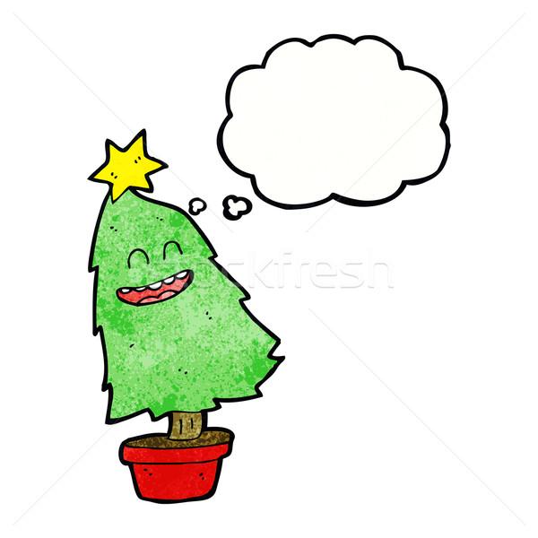Desenho animado dança árvore de natal balão de pensamento árvore mão Foto stock © lineartestpilot
