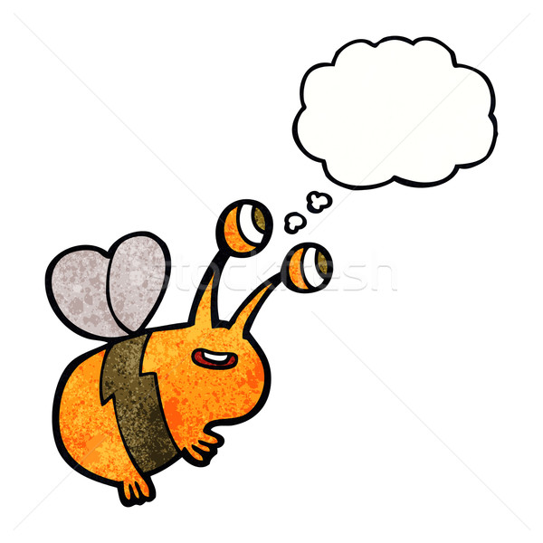 cartoon happy bee with thought bubble Stock photo © lineartestpilot