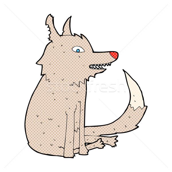 комического Cartoon волка сидят ретро Сток-фото © lineartestpilot