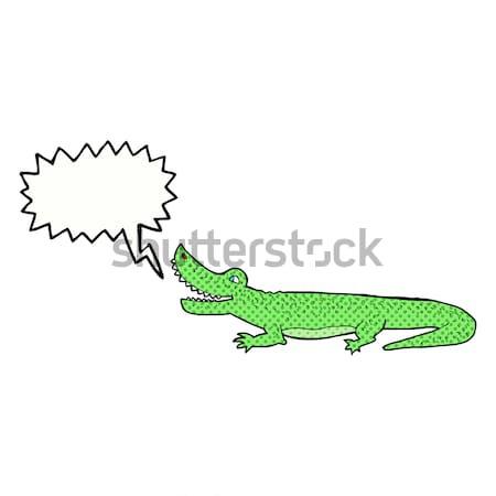 комического Cartoon счастливым крокодила ретро Сток-фото © lineartestpilot