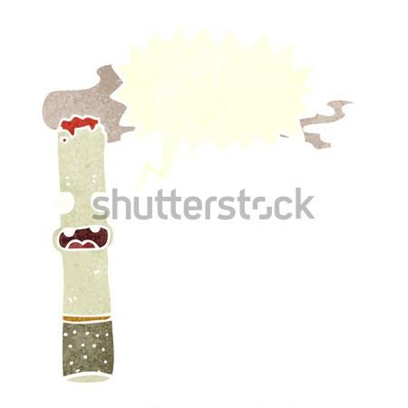 Desenho animado feliz cigarro balão de pensamento mão projeto Foto stock © lineartestpilot