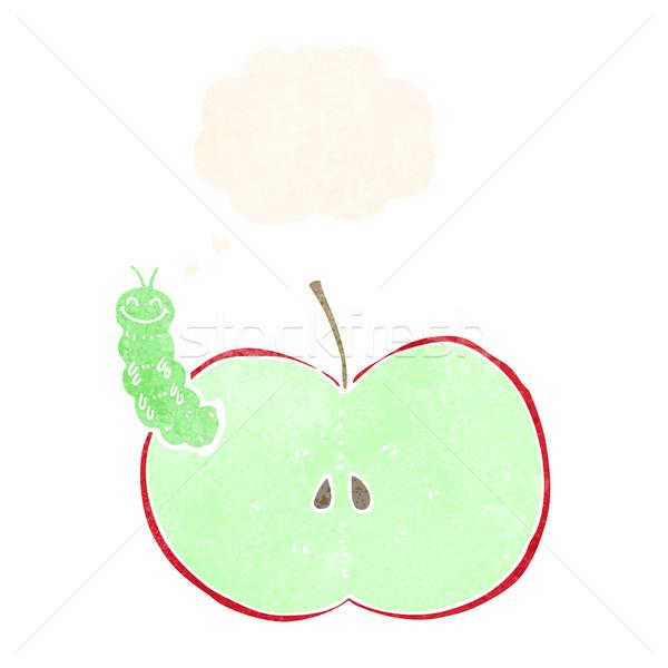 Cartoon bug eten appel gedachte bel hand Stockfoto © lineartestpilot
