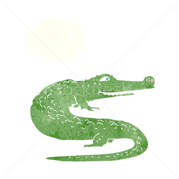 Cartoon cocodrilo burbuja de pensamiento mano diseno animales Foto stock © lineartestpilot