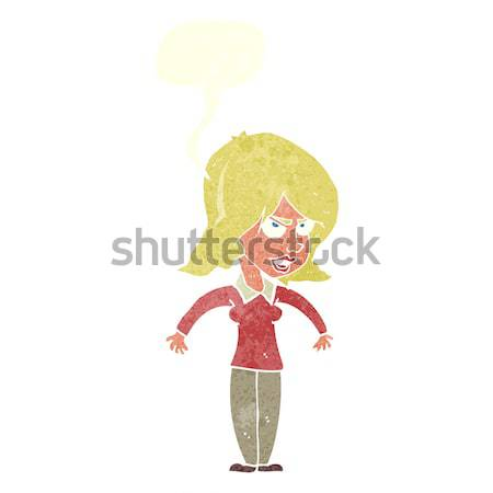 cartoon attractive woman looking surprised with thought bubble Stock photo © lineartestpilot