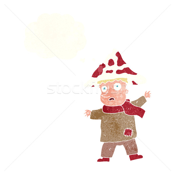 cartoon magical mushroom man with thought bubble Stock photo © lineartestpilot