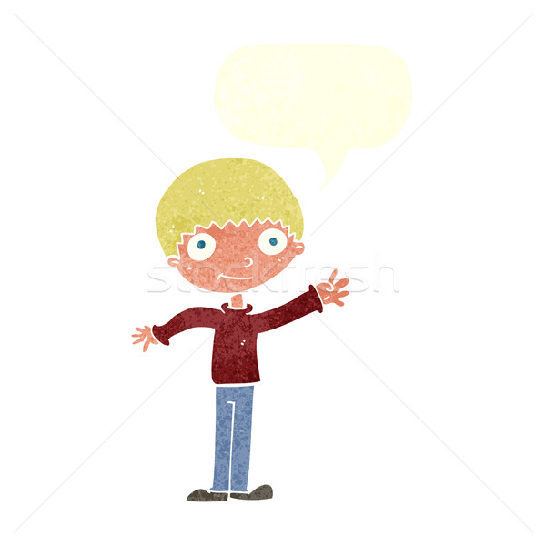 cartoon happy waving boy with speech bubble Stock photo © lineartestpilot