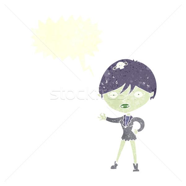 Rajz vámpír lány szövegbuborék nő kéz Stock fotó © lineartestpilot
