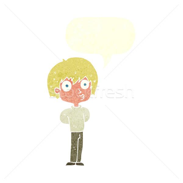 cartoon impressed boy with speech bubble Stock photo © lineartestpilot
