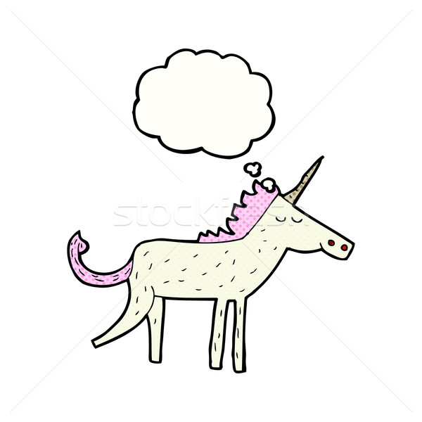 Stock photo: cartoon unicorn with thought bubble