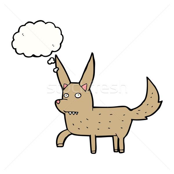 Desenho animado cão balão de pensamento mão projeto Foto stock © lineartestpilot