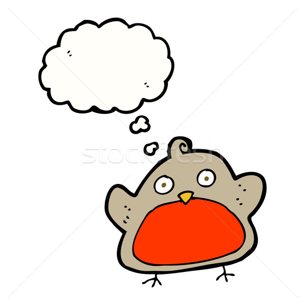 cartoon christmas robin with thought bubble Stock photo © lineartestpilot