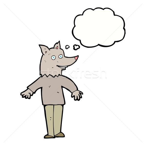 Karikatür mutlu kurt adam düşünce balonu el adam Stok fotoğraf © lineartestpilot