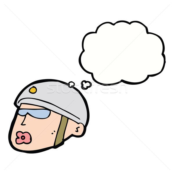 cartoon policeman head with thought bubble Stock photo © lineartestpilot