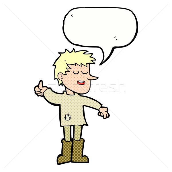 Cartoon arme jongen positieve houding tekstballon hand Stockfoto © lineartestpilot