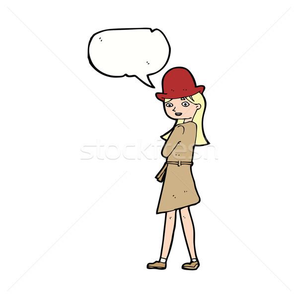 Cartoon женщины шпиона речи пузырь женщину стороны Сток-фото © lineartestpilot