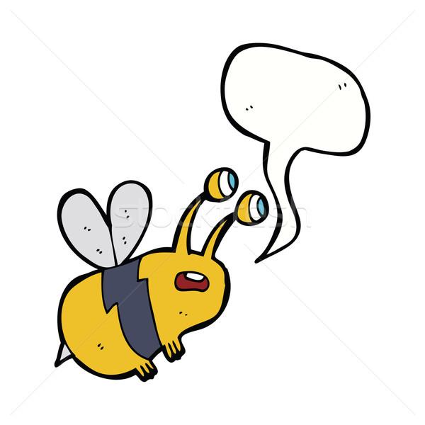 Cartoon bange bee tekstballon hand ontwerp Stockfoto © lineartestpilot