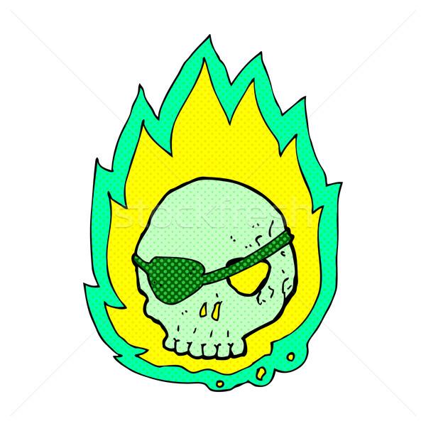 comic cartoon burning skull Stock photo © lineartestpilot