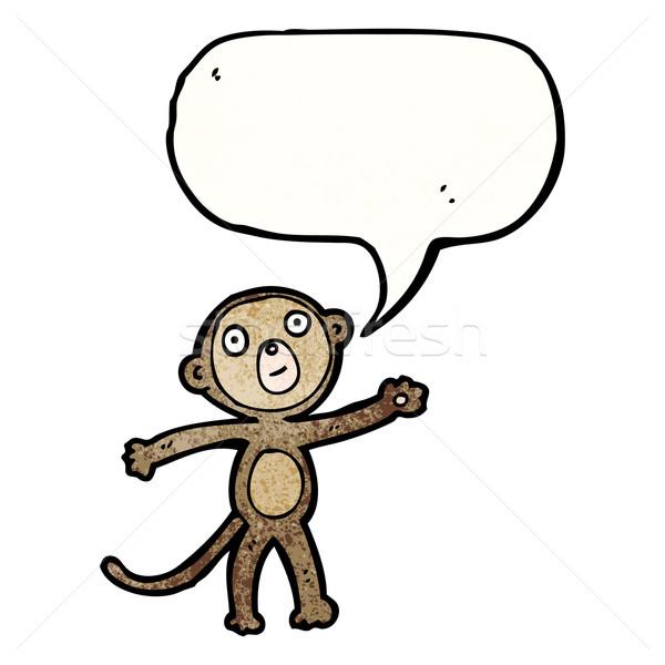Funny cartoon małpa mówić retro rysunek Zdjęcia stock © lineartestpilot