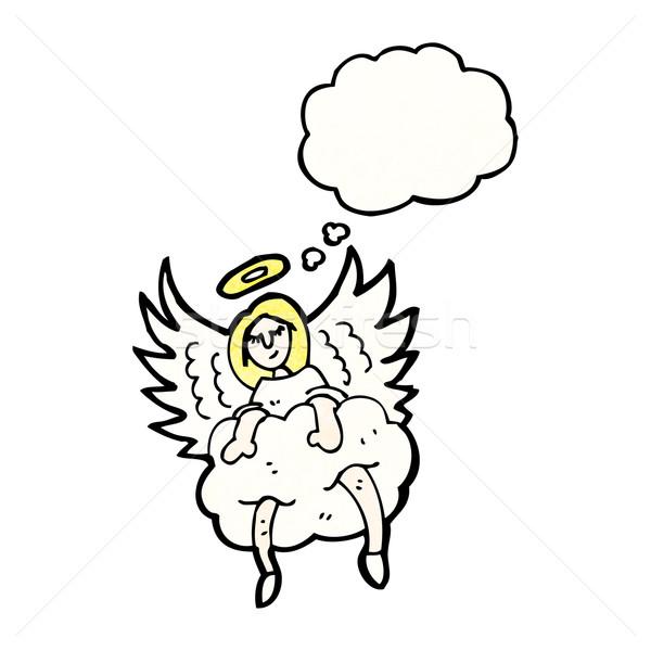 Angelo nube cartoon parlando retro pensare Foto d'archivio © lineartestpilot