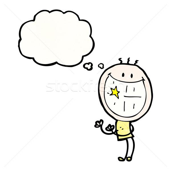 Grinsend Mann Karikatur Retro Zeichnung lächelnd Stock foto © lineartestpilot
