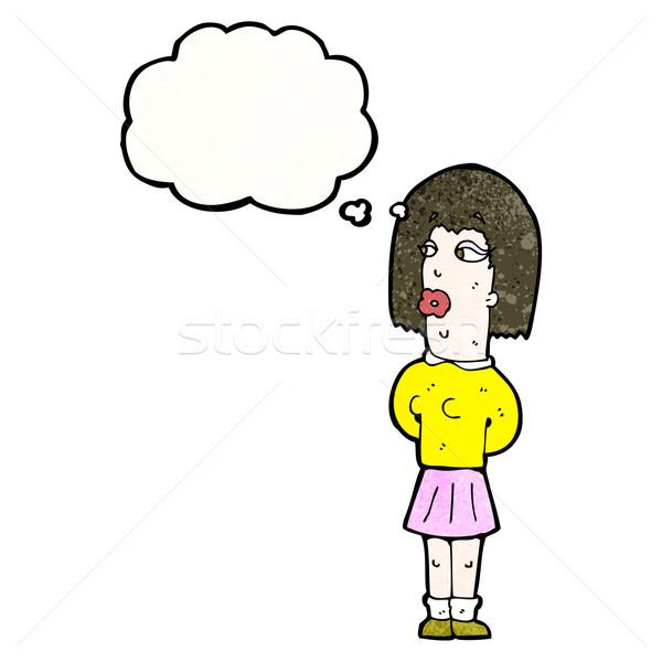 Cartoon уродливые женщину ретро текстуры изолированный Сток-фото © lineartestpilot