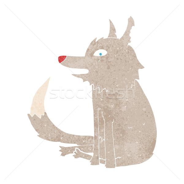 Karikatür kurt oturma dizayn sanat hayvanlar Stok fotoğraf © lineartestpilot