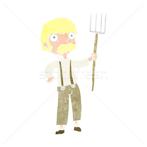 cartoon farmer with pitchfork Stock photo © lineartestpilot