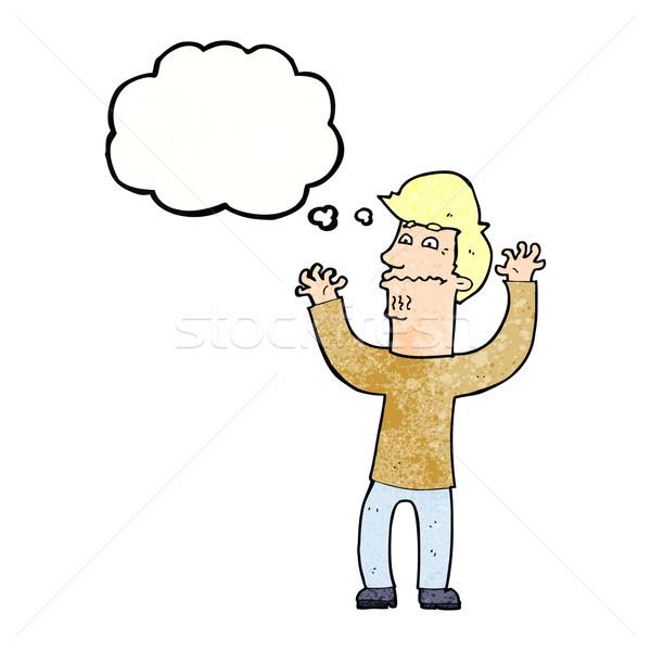 Cartoon nervoso uomo bolla di pensiero mano design Foto d'archivio © lineartestpilot