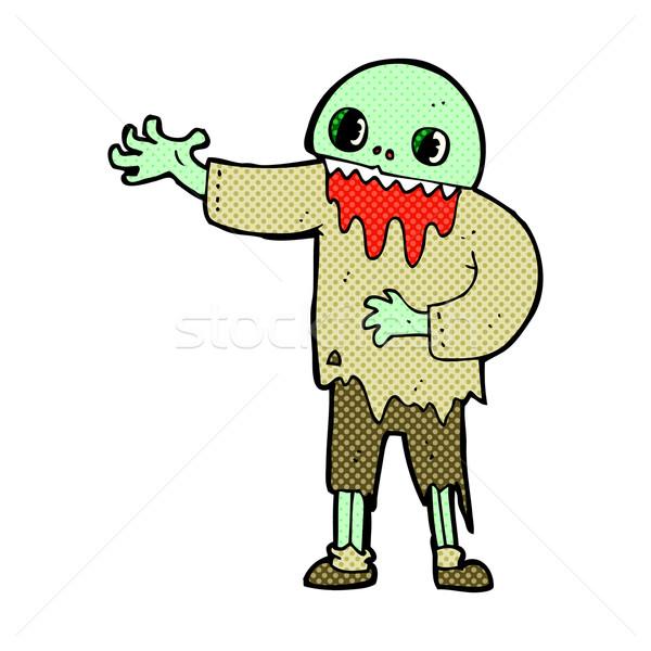 Cômico desenho animado assustador zumbi retro Foto stock © lineartestpilot
