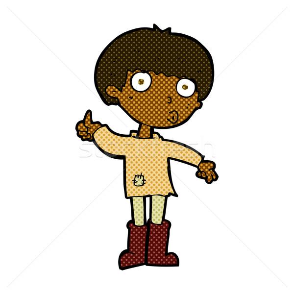 Cômico desenho animado menino pergunta retro Foto stock © lineartestpilot