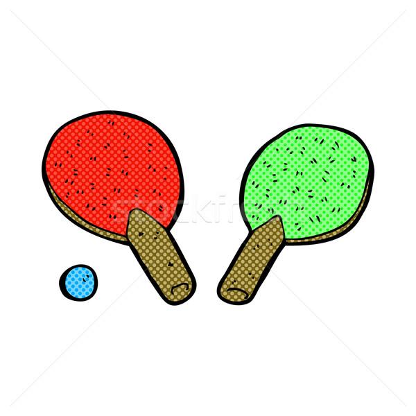 Komik karikatür masa tenisi Retro stil Stok fotoğraf © lineartestpilot
