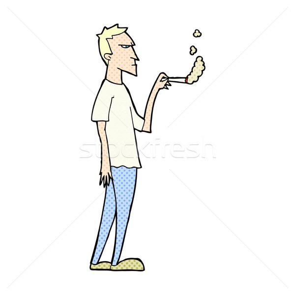 Komik karikatür rahatsız sigara tiryakisi Retro Stok fotoğraf © lineartestpilot
