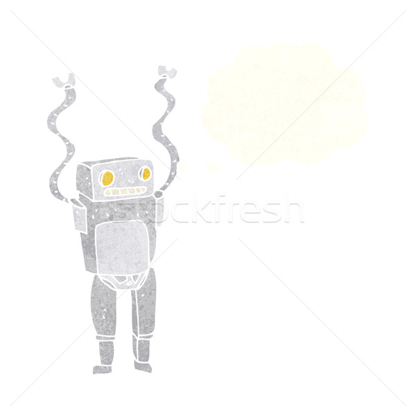 cartoon funny robot with thought bubble Stock photo © lineartestpilot