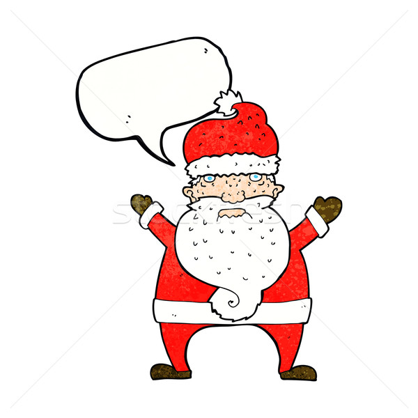 cartoon ugly santa claus with speech bubble Stock photo © lineartestpilot