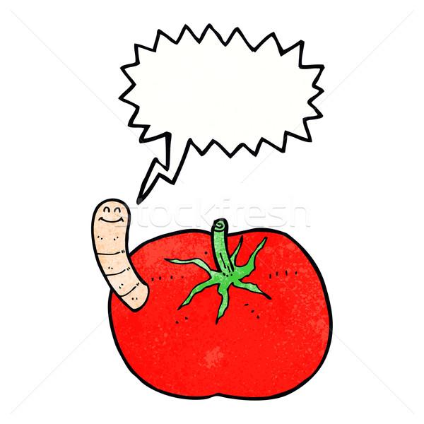 Cartoon pomodoro worm fumetto mano design Foto d'archivio © lineartestpilot