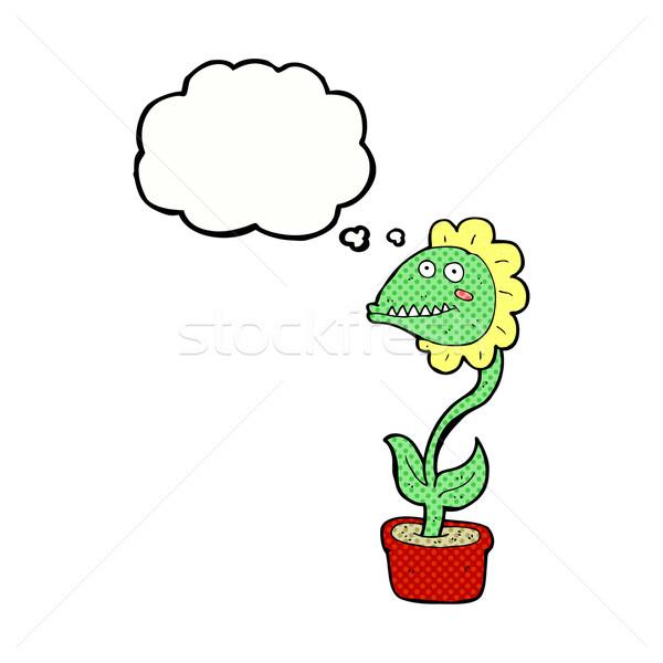 Foto stock: Desenho · animado · monstro · planta · balão · de · pensamento · mão · homem