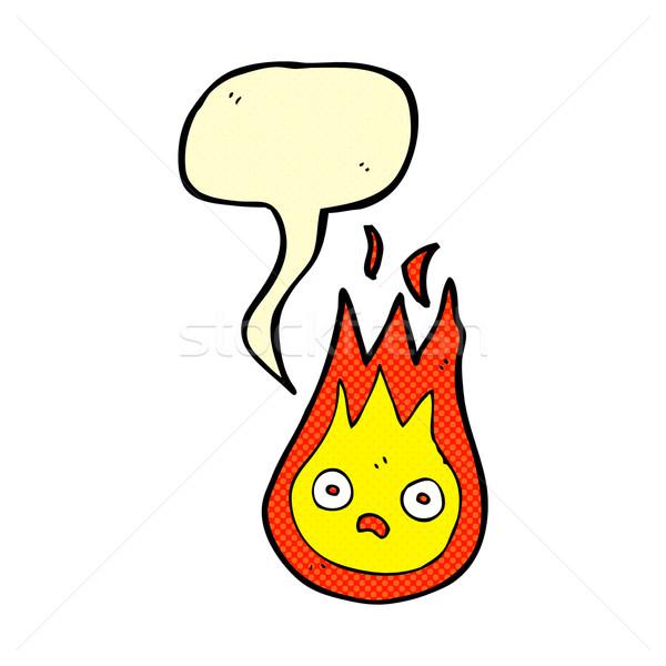 Cartoon дружественный огненный шар речи пузырь стороны дизайна Сток-фото © lineartestpilot