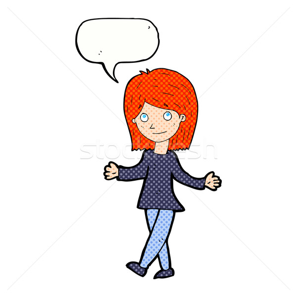 cartoon woman with no worries with speech bubble Stock photo © lineartestpilot