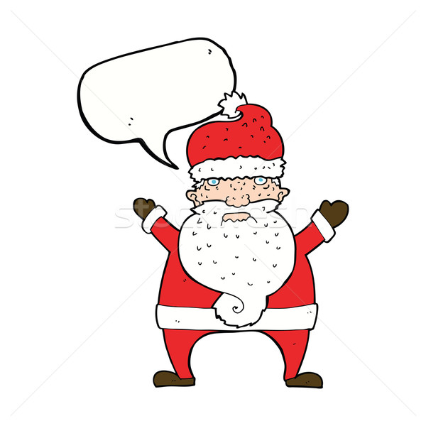 Cartoon feo papá noel bocadillo mano diseno Foto stock © lineartestpilot
