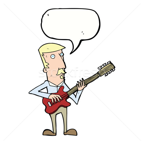 cartoon man playing electric guitar with speech bubble Stock photo © lineartestpilot