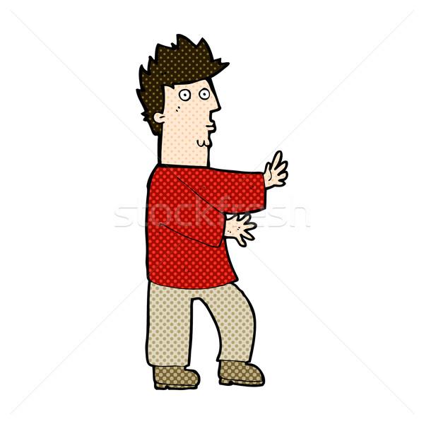 Cômico desenho animado nervoso homem retro Foto stock © lineartestpilot