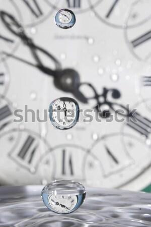 Cseppek idő játék víz órák kéz Stock fotó © linfernum