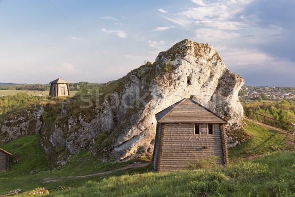 Gótikus kastélyok Lengyelország turisztikai útvonal sasok Stock fotó © linfernum