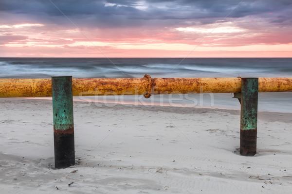 ストックフォト: 風景 · ポーランド · 日没 · バルト海 · 産業 · 汚染