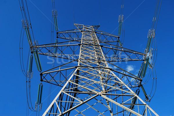 Eletricidade alta tensão terreno para cima blue sky metal Foto stock © Lio22