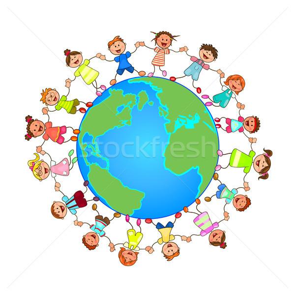 Klein kinderen rond wereldbol handen Stockfoto © liolle